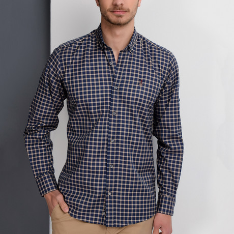 G661 Button-Up Shirt // Dark Blue + Beige (S)