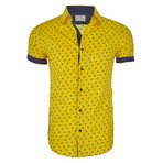 Stevie Short Sleeve Casual Button Down Shirt // Yellow (L)