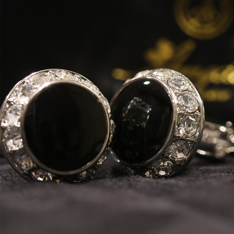 Exclusive Cufflinks + Gift Box // Black Round + Stones