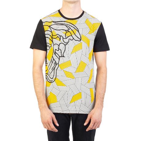 Cotton Geometric Medusa Graphic T-Shirt // Black (Small)