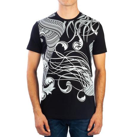 Paisley Baroque Graphic T-Shirt // Black (Small)