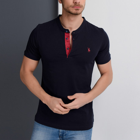 T8560 Collarless Polo // Dark Blue + Red (S)