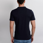 T8560 Collarless Polo // Dark Blue + Red (M)