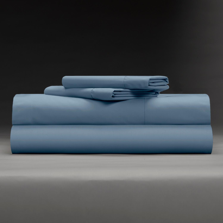 Cool Crisp 100 Cotton Percale 4 Piece Sheet Set Cadet Blue