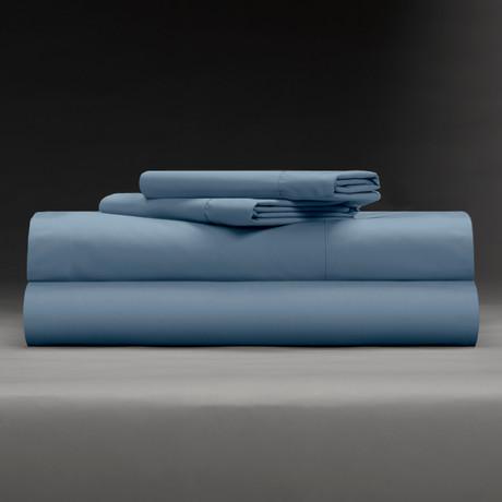 Cool + Crisp 100% Cotton Percale 4-Piece Sheet Set // Cadet Blue (Full)