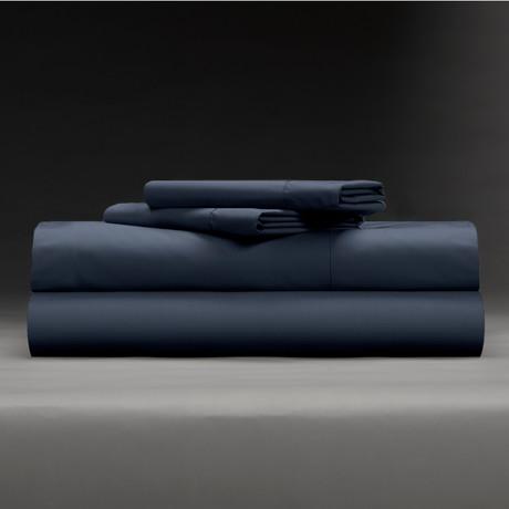 Cool + Crisp 100% Cotton Percale 4-Piece Sheet Set // Dark Navy (Full)