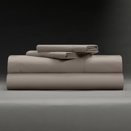 Cool + Crisp 100% Cotton Percale 4-Piece Sheet Set // Taupe (Full)