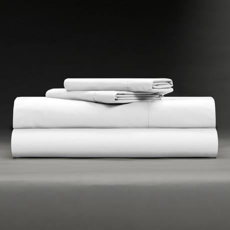 Cool & Crisp 100% Cotton Percale 4-Piece Sheet Set // White (Full)
