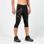 MCS Alpine Compression 3/4 Tights // Black + Gold (S)