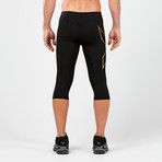 MCS Alpine Compression 3/4 Tights // Black + Gold (XS)