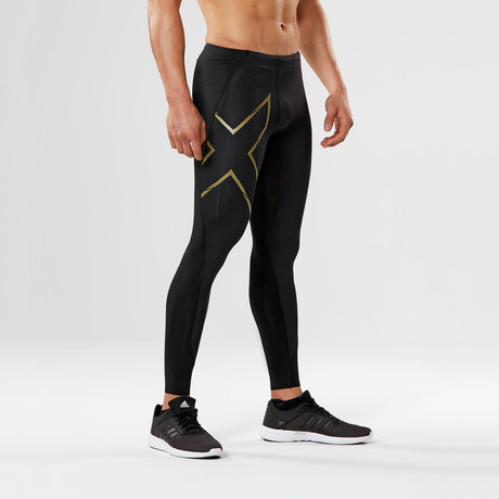 MCS Football Compression Tights // Black + Gold (XS)