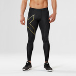MCS Football Compression Tights // Black + Gold (M)