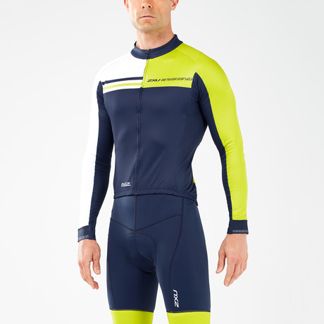 Thermal Long Sleeve Cycle Jersey // Navy + White + Neon Yellow (XS)
