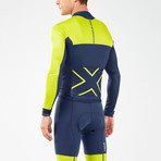 Thermal Long Sleeve Cycle Jersey // Navy + White + Neon Yellow (M)