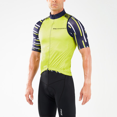 Wind Defense Cycle Gilet // Blue + Neon Yellow (XS)