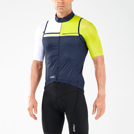 Wind Defense Cycle Gilet // Navy + White + Neon Yellow (XS)