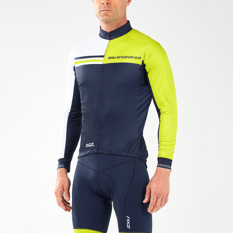 Wind Defense Cycle Jacket // Navy + White + Neon Yellow (XS)