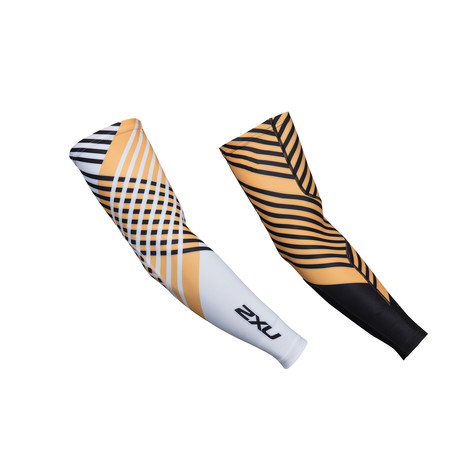 Thermal Cycle Arm Warmers // White + Orange + Black (XS)
