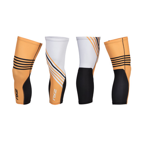 Thermal Cycle Knee Warmers // White + Orange + Black (XS)