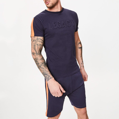 Embossed T-Shirt // Ink Blue (XS)