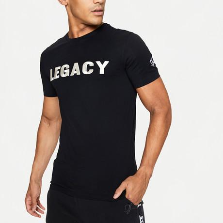 Silver Embossed Logo T-Shirt // Black (XS)