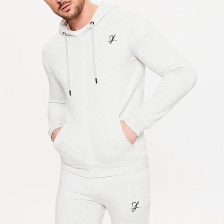 Zip Through Hoodie // Snow Marl (XS)