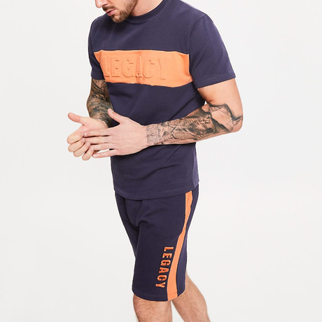 Embossed Short Sleeve Sweater T-Shirt // Ink Blue (XS)