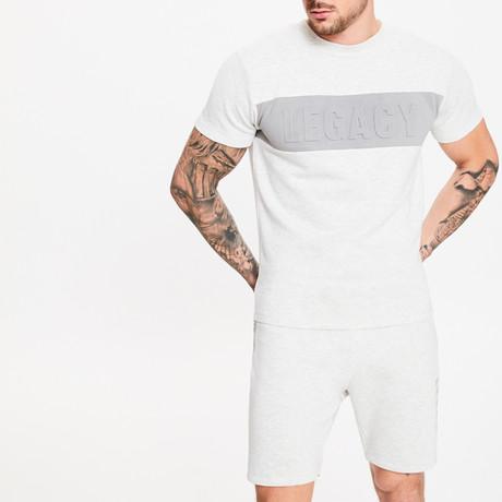 Embossed Short Sleeve Sweater T-Shirt // Snow Marl (XS)
