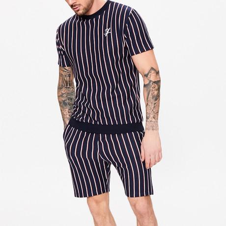 Vertical Stripe Short Sleeve Sweat T-Shirt // Blue Ink (XS)