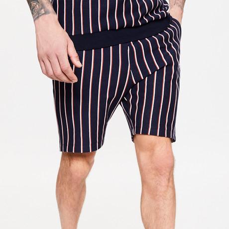 Vertical Stripe Jogger Shorts // Blue Ink (XS)