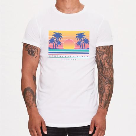 Skull + Roses Printed T-Shirt // White (XS)