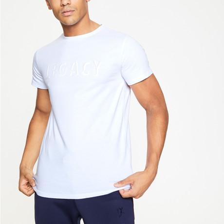 White Raised Rubber 3D Logo T-Shirt // White (XS)
