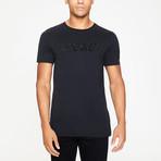 Black Raised Rubber 3D Logo T-Shirt // Black (S)