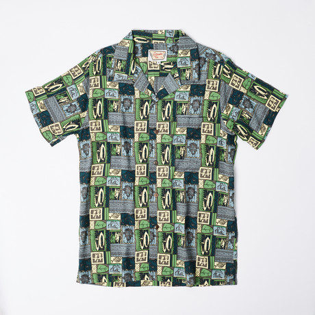 Koi Retro Hawaiian Shirt // Dark Blue (S)