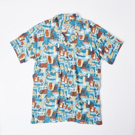 Ahe Retro Hawaiian Shirt // Aqua Island (S)