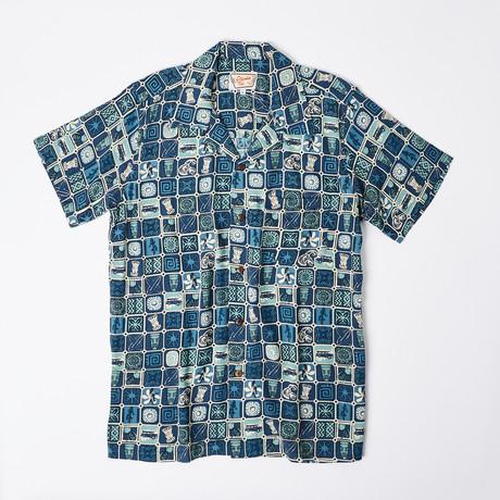 Noelani Retro Hawaiian Shirt // Blue Polynesian Tile (S)