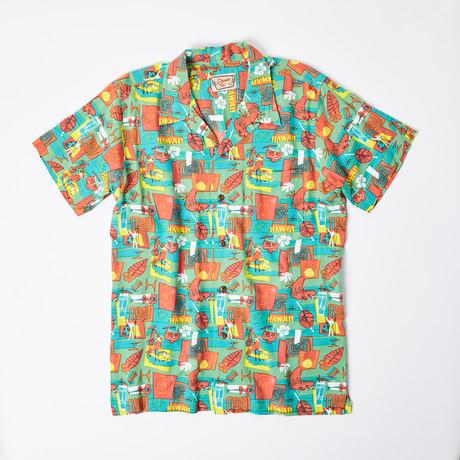 Nohea Retro Hawaiian Shirt // Turq Island (S)