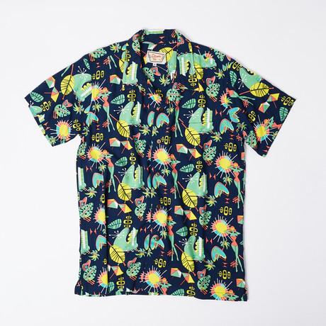 Hilo Retro Hawaiian Shirt // Dark Blue (S)