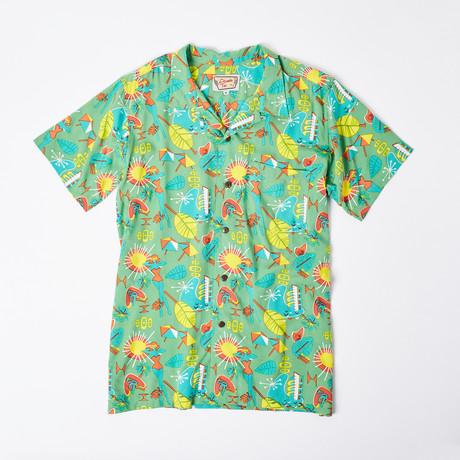 Honi Retro Hawaiian Shirt // Lime Miami Beach (S)
