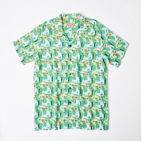 Tua Retro Hawaiian Shirt // Green Cosmic (S)