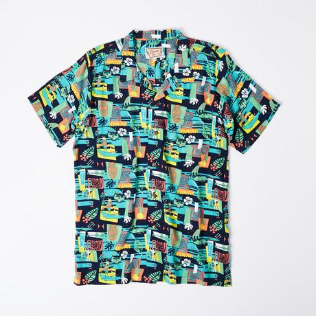 Ano Retro Hawaiian Shirt // Blue Island (S)