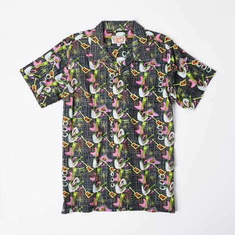 Kaili Retro Hawaiian Shirt // Blue Cosmic Music (S)