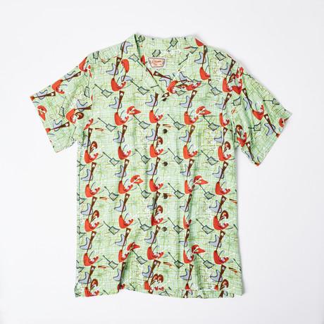 Lono Retro Hawaiian Shirt // Mint Cosmic Music (S)