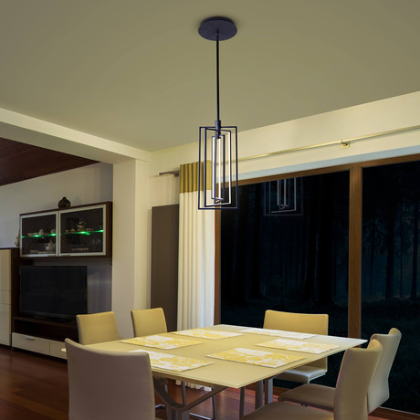 RADIUM Series // Rotating LED Pendant // Rectangular // 12""