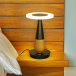 SILVA Series // Black Wood LED Table Lamp // Plug-In