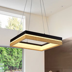 SILVA Series // Square Black Wood LED Chandelier // Single