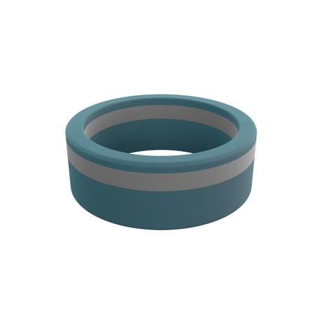 Pinstripe Silicone Ring // Stone Blue + Concrete Grey  (Size 8)
