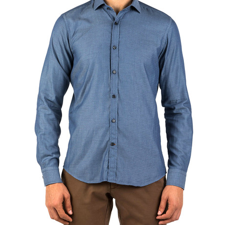 Joseph Patterned Dress Shirt // Blue (S)