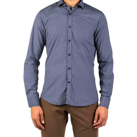 George Circle Patterned Dress Shirt // Dark Blue (S)