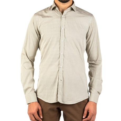 John Patterned Dress Shirt // Green + White (S)